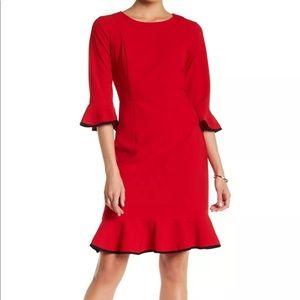 Nanette Lepore Red/Very Black Velvet Dress